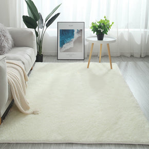 Beige White Colour Modern Plain Carpet Bedroom Living Room Sofa Rugs Soft Plush Shaggy Rugs