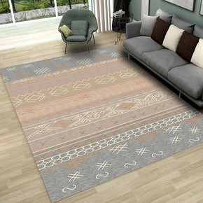 Grey Brown Modern Moroccan Patterned Striped Non-slip Sofa Rug Table Rug Area Rugs Customizable