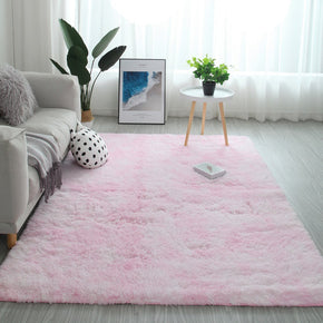Gradient Pink Colour Modern Plain Carpet Bedroom Living Room Sofa Rugs Soft Plush Shaggy Rugs