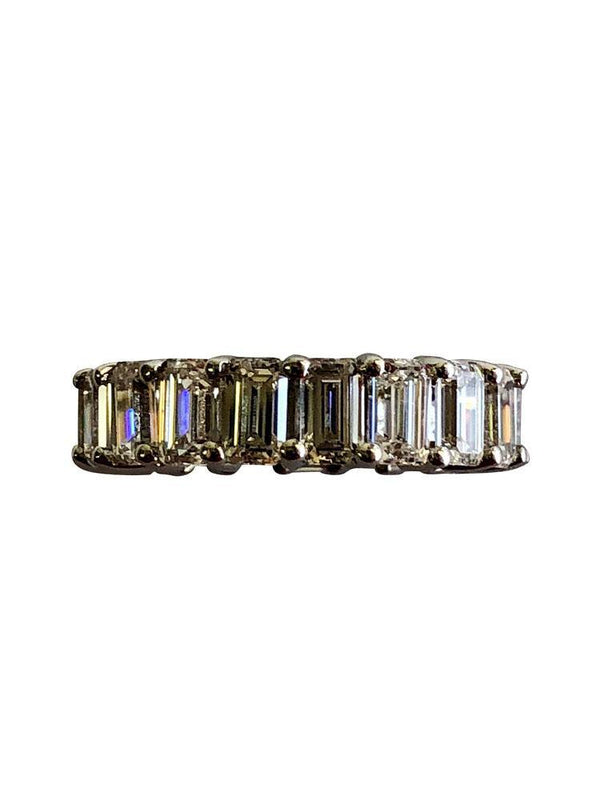 Eternity band with CZ Emerald Cuts 0.25 Each 14 K White Gold