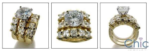 Matching Set Round 3 Ct Center Ct 2 Wedding Cubic Zirconia Cz Ring