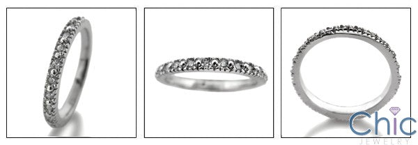 Eternity TCW .75 Pave 2.5mm Cubic Zirconia Cz Ring