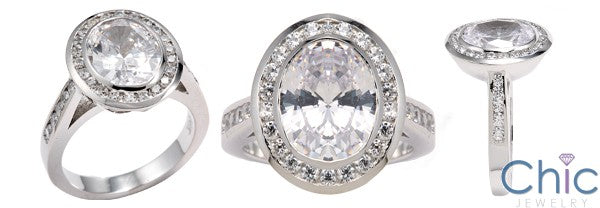 Anniversary 2.5 Oval Diamond CZ in Halo Cubic Zirconia Cz Ring