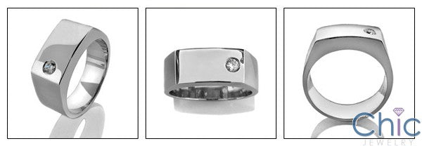 Mens 9MM Wide .2 Round Burnished Stone Cubic Zirconia CZ Wedding Band