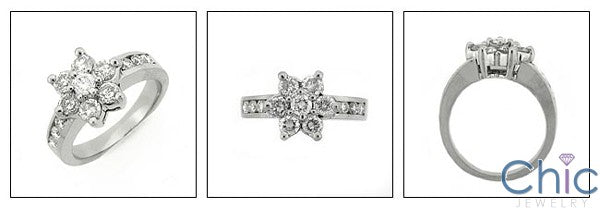 Fine Jewelry Flower Round Stone Share Prong Cubic Zirconia Cz Ring
