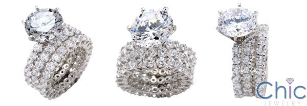 Matching Set 3 Ct Round 6 Prong Center Share Prong Eterntiy Wedding Ba Cubic Zirconia Cz Ring