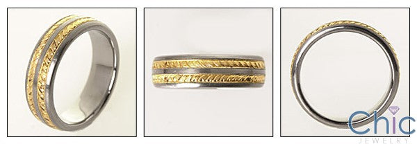 Mens Two Tone Gold Engraved Wedding Band