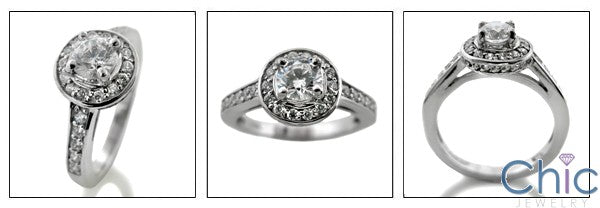 Engagement Half Ct Round Center Pave Cubic Zirconia Cz Ring