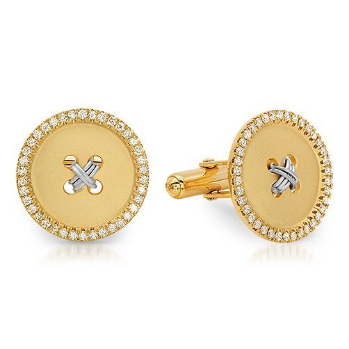 Two Tone Gold Botton Cuff links