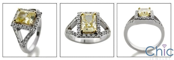 Canary Radiant 1.25  Cubic Zirconia Center Two Tone 14K Gold Anniversary Ring
