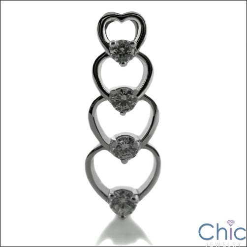 Cubic Zirconia Cz InterconneCt ed Hearts Pendant