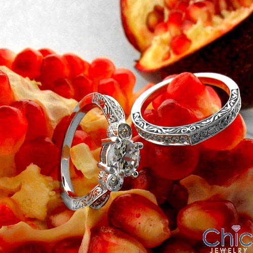 Matching Set Filigree Engraved Shanks .75 Round Center Cubic Zirconia Cz Ring