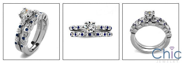 Matching Set 0.65 Round Center Channel Cubic Zirconia Cz Ring