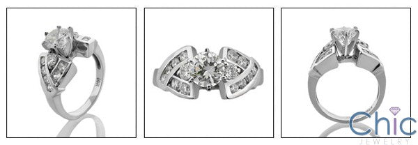 Engagement 1.75 TCW Round Center Channel Cubic Zirconia Cz Ring