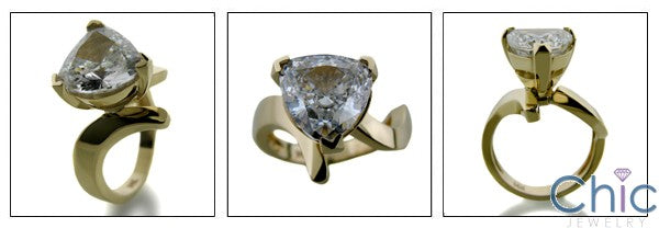 Solitaire 4 Ct Trillion free form Cubic Zirconia Cz Ring