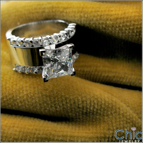 Engagement 2 Ct Princess 11mm Cubic Zirconia Cz Ring