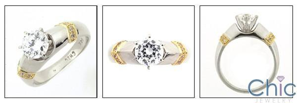 1 Carat High Quality Round Cubic Zirconia Two Tone Gold Engagement Ring