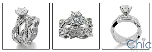 Matching Set 1 Ct Center Pave Set Cubic Zirconia Cz Ring