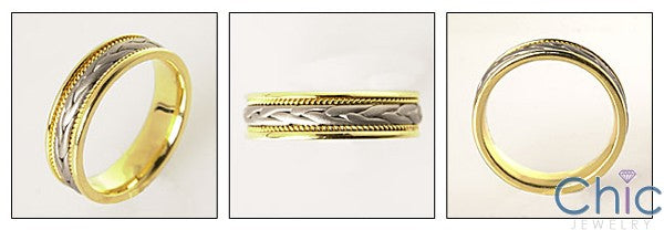 Mens Two Tone Gold Braided Wedding Band