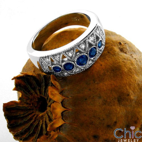 Sapphire Round Cubic Zirconia Bezel and Pave Diamonds CZ Ring 14k White Gold