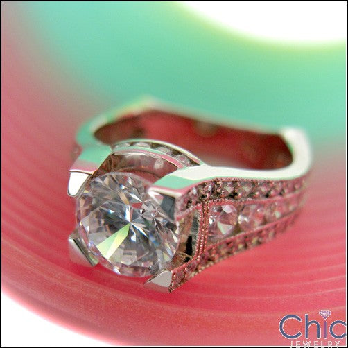 Engagement 1.5 Round Center Euro Shank Cubic Zirconia Cz Ring