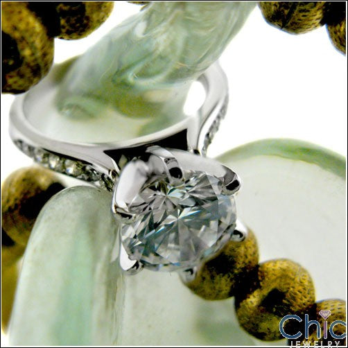 Engagement Ca dral 2 Ct Round Center Pave Cubic Zirconia Cz Ring