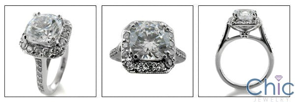 Engagement 2 Ct Round Double Prong Pave Cubic Zirconia Cz Ring
