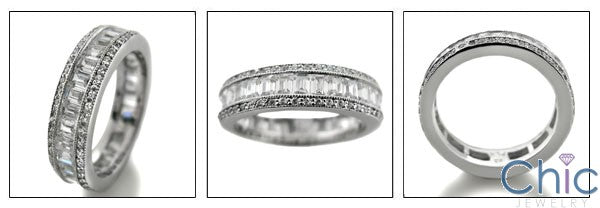 Eternity 5 TCW Baguette Ct Round Channel Pave Cubic Zirconia Cz Ring