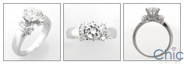 Engagement Round 1 Ct Tiffany Prongs Cubic Zirconia Cz Ring