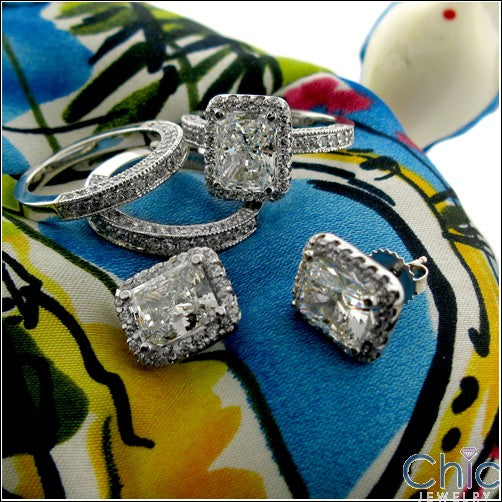 Matching Set 3 Ct Radiant Center Pave Double Cubic Zirconia Cz Ring