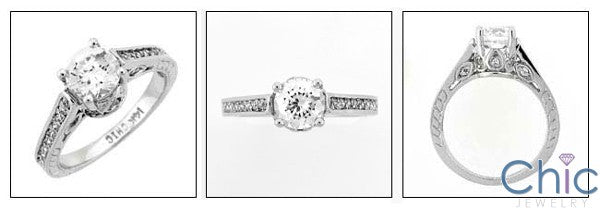 Engagement 1 Ct Round center Engraved Ct Pave Cubic Zirconia Cz Ring