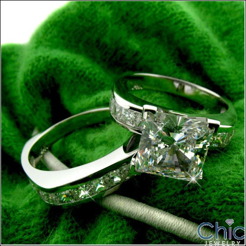 2.5 Carat Princess Cubic Zirconia Center Euro Shank 14K White Gold Cz Matching Ring Set