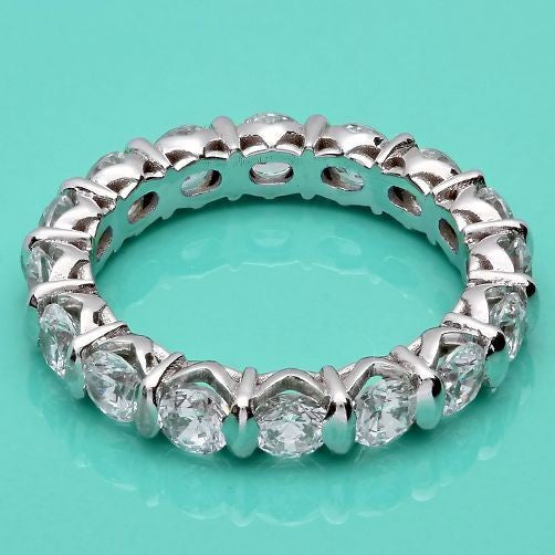 Round Cubic Zirconia Channel Eternity Wedding Band