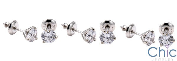 Round 1 Ct Martini 3 Prong Cubic Zirconia CZ Earrings