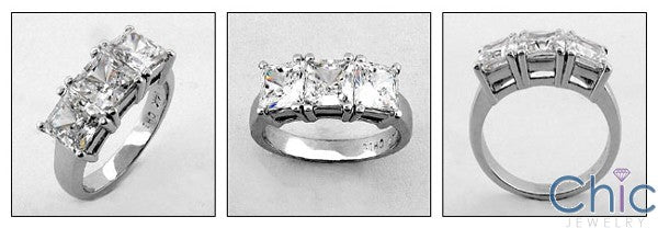 Princess Cut Cubic Zirconia 3 Stone Ring