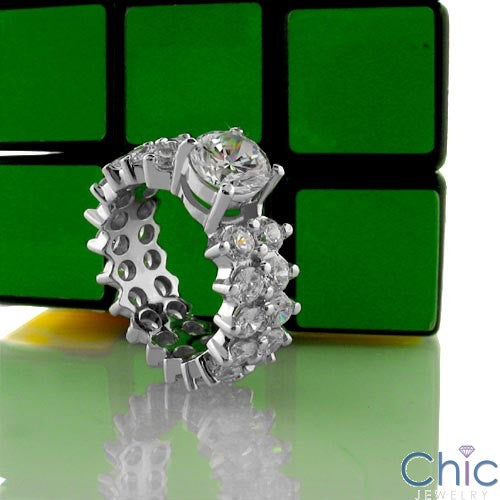 Eternity 1.25 Round Center Eternity Cubic Zirconia Cz Ring