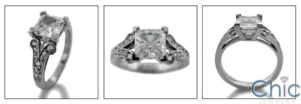1.25 Princess Cut Center Antique Style Pave Set Cubic Zirconia Engagement 14K White Gold Ring