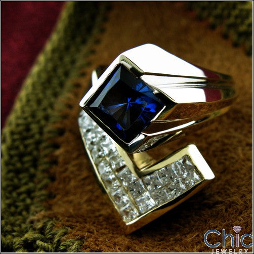 Anniversary 1.5 Princess Sapphire Invisible Cubic Zirconia Two Tone Gold Ring