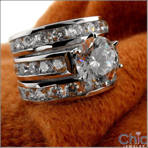Matching Set 4.35 TCW Round Channel Double Cubic Zirconia Cz Ring