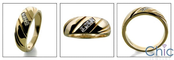 Mens Princess Yellow Gold Cubic Zirconia CZ Wedding Band