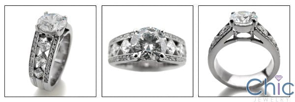 Engagement 1.5 Ct Round Center Princess Channel Pave Cubic Zirconia Cz Ring