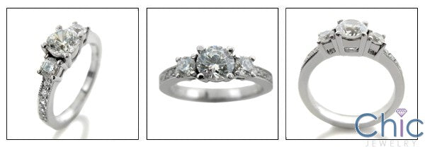 Engagement 0.65 Round Center .55 Ct Cubic Zirconia Cz Ring