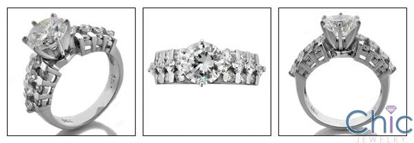 Engagement 2 Ct Round Tiffany Prongs Princess Round Cubic Zirconia Cz Ring