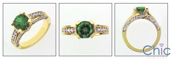 Estate 1.5 Emerald Round Yellow Gold Cubic Zirconia Cz Ring