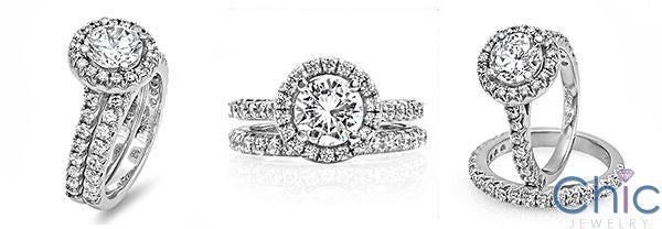 Cubic Zirconia Round Halo Matching Ring Set