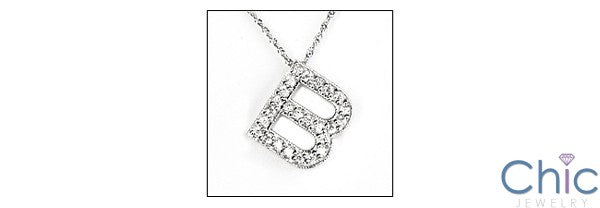 Cubic Zirconia Cz Letter B in white gold Initial Pendant