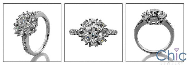 Star Shaped Center  Baguette Round Cubic Zirconia Cz 14K White Gold Ring