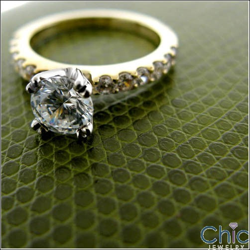 Cubic Zirconia 1.5 Round Double Prong Two Tone Gold Engagement Ring
