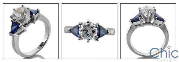 3 Stone 1.25 Round Sapphire Triangles Cubic Zirconia Cz Ring