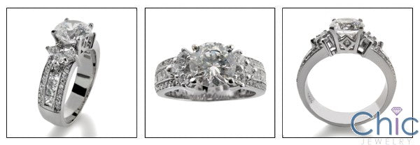 Engagement 1.5 RoundCenter Stone Channel Pave Cubic Zirconia Cz Ring